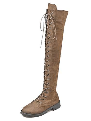 ShallGood Zapatos de Mujer Botas de Mujer Botines Mujer Invierno Otoño Negro Plano Pierna Alta Ante Casual Largo Alto Botas Caqui 40 EU
