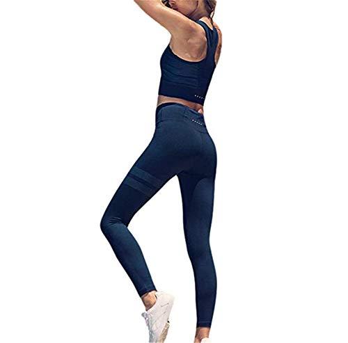DOTBUY Bekleidung Yoga Set, Komfort Damen Sport BH Jogginghose Sport Leggings Yoga Hose Trainingshose Sport Bustier ohne Bügel Yoga Fitness Training (M, Königsblau)