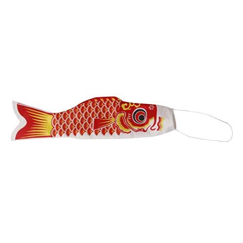 Fliyeong 40 cm / 1,3 ft / 16 Zoll Japanische Koi Fisch Windsack Fisch Flagge Hängen Pandent Wand Garten Terrasse Dekor Ornament Rote Farbe Langlebig und Nützlich