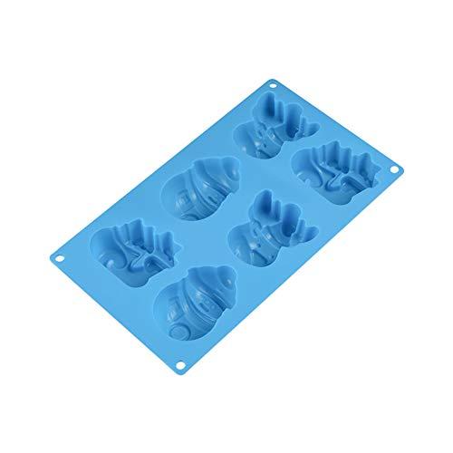 Romote 1PC 6-Cavity Backformen CartoonSnowman Silikon Fondantform DIY Backformen Für Kuchen-Schokoladen-Pudding Dessert Moulds (Zufällige Farbe)