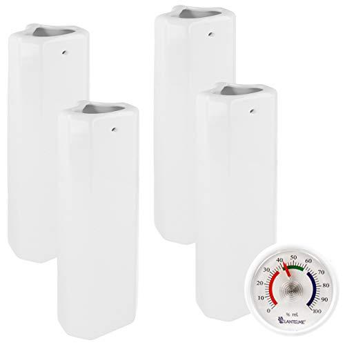 Lantelme Humidificador de calefacción de cerámica, 4 Unidades para radiadores Acanalados y 1 Unidad 7644 - Higrómetro analógico