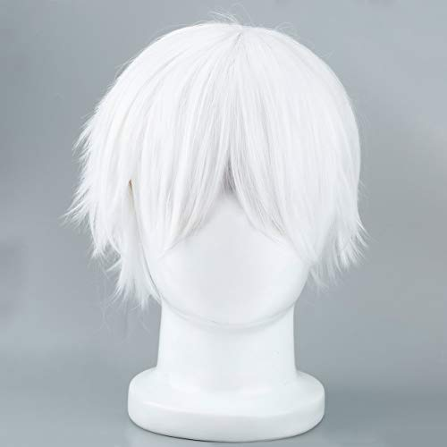 Tree-on-Life Männliche weiße synthetische Perücke für Cosplay Anime Charaktere gerade Kurze Hochtemperaturseide Haar für Cosplay Perücken