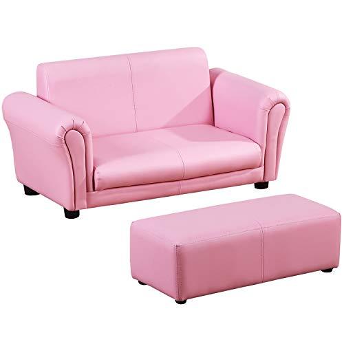 HOMCOM Kindersessel Kindersofa Sofa Sessel Kinder Softsofa Rosa (Sofas Und Sofas Mit Sessel)