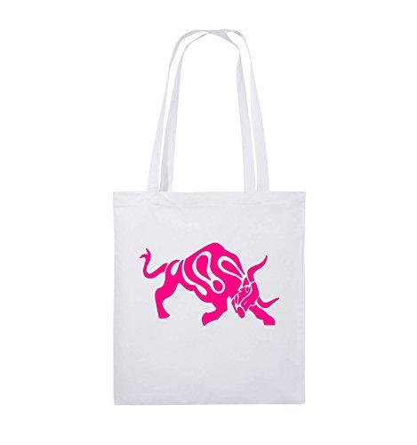 Buste Comiche - Toro - Fumetto - Borsa Di Juta - Manico Lungo - 38x42cm - Colore: Nero / Rosa Bianco / Rosa