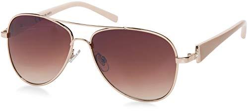 styleBREAKER gafas de aviador elegantes de señora, gafas de sol de aviador con patillas barnizadas y piedras de estrás, mujeres 09020053, color:Marco dorado/delineado de vidrio marrón