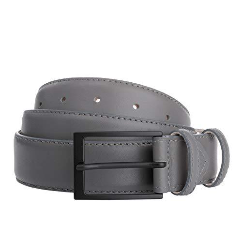 DuDu Herrengürtel aus echtem Leder sowohl auf der Vorderseite als auch auf der Rückseite, ab 33 mm, Made in Italy, mit mattschwarzer Dornschließe, verstellbar von 130 cm Grau