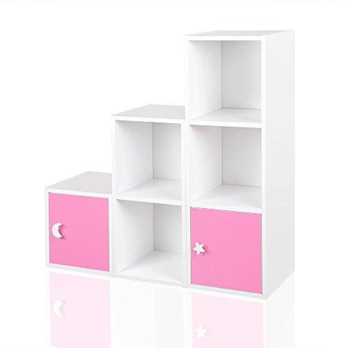 Regal Kinderregal Treppenregal Raumteiler Stufenregal Bücherregal Standregal Rosa