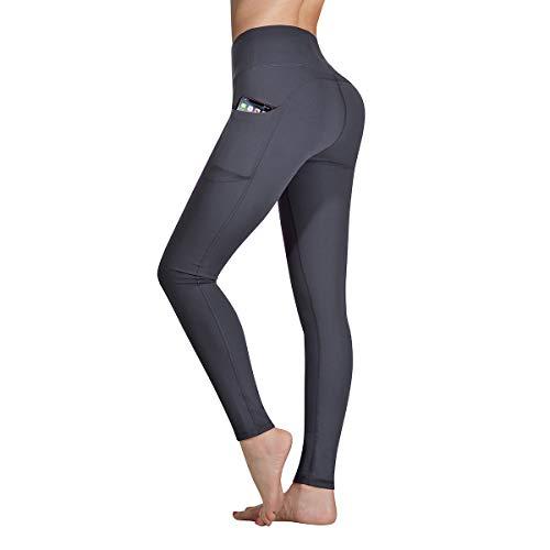 Occffy Sporthose Damen Yogahose Laufhose Fitnesshose Yoga Sport Leggings tights für Damen mit Taschen DS166 (Dunkel Grau, S) -