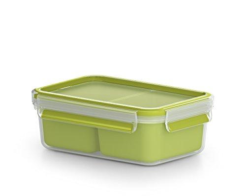 Emsa Lunch- und Snackbox mit 2 praktischen Einsätzen und Deckel, Volumen: 1 Liter, Transparent/Grün, Clip & Go, 518101