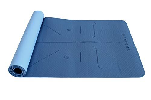 MaxDirect Esterilla Yoga con Sistema de Alineación y Marcados. Colchoneta Yoga Mat Antideslizante y Ligera de Material Ecológico TPE. Tamaño Ideal 183cm x 61cm x 6mm. - Azul