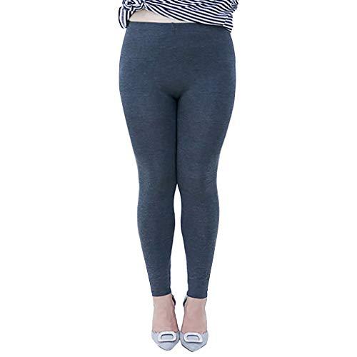 Xmiral Jogginghose Damen Elastische Schlanke Hose Einfarbig Übergröße Leggings Winter Einfarbig Fette Hosen(Dunkelgrau,3XL)