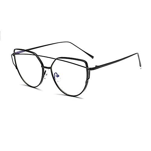 Zero Strength Lens Computer Brille Schwarz Front Metall Tempel Anti-Blendung Anti Reflektierende Blaulicht UV Blockieren Unverkennbare Linse Damen Herren Gaming Brille-1