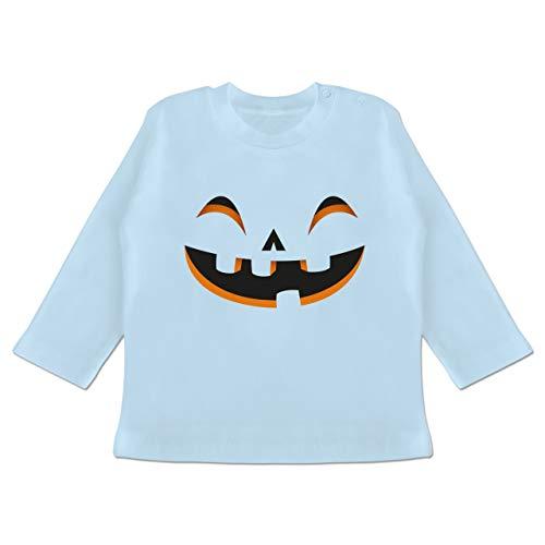 Karneval und Fasching Baby - Kürbisgesicht Kostüm - 3-6 Monate - Babyblau - BZ11 - Baby T-Shirt Langarm