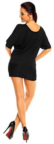 Zeta Ville - Top T-shirt Tunique de club - dégageant les épaules - Femme - 221z Noir