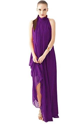 Minetome Women Elegant Summer High Ruffle Neck Sleeveless Long Chiffon Evening Ball Gowns ( Purple )