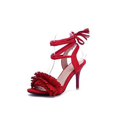 Sandales Printemps Été Automne Chaussures Club Soirée Party & similicuir talon aiguille occasionnel Tassel à lacets Gris Noir Rose Rouge Red