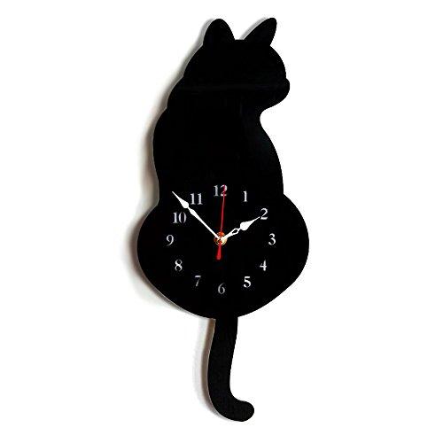 Xinlianda Wanduhr Automatische Swing Tail Cat Acryl Kreative Cartoon Stille Uhr Einfach zu Lesen und installieren am Besten für Zuhause/Büro/Schule Dekorative, Batterie Nicht...