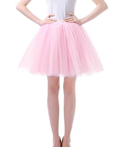 Facent Damen Kurz Tutu Tüllrock Petticoat Kleid Minirock Tütü Ballerina Tüll Rock Reifrock Rosa