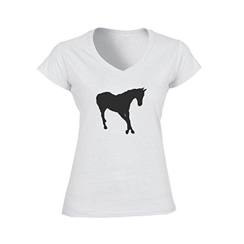 Horse Animal Pony Stud No Tail Black Shadow Damen V-Neck T-Shirt Weiß