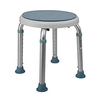 ZPX Shower Stool Rotating Seat Height Adjustable With Removable Tray And Swivel Bath Bench Resistant For Elderly Handicapped And Disabled Users