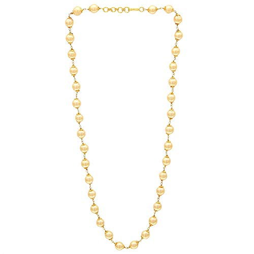 Indian Handicrafts Export Sasitrends Handmade 1 Gram Gold Plated 18 inches Pearl Mala for Women and Girls (1g-container)