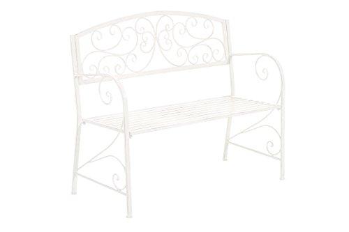 CLP Gartenbank AZAD im Landhausstil, Eisen lackiert, ca 110 x 50 cm Antik Weiß - 2