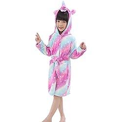 EuHigh Peignoir Enfant Vêtements Confortable Polaire Doux Licorne à Encapuchonné Vêtements de Nuit Cadeau Unisexe