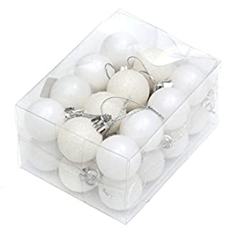 Shujon Paquete de 24 Bolas de Navidad de Color Blanco inastillable para decoración de árbol de Navidad, tamaño pequeño de 3 cm