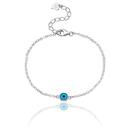 Karisma Damen Silber 925 rhodinert Armband Böses Auge Nazar Verlängerung 3cm (Damen Auge)