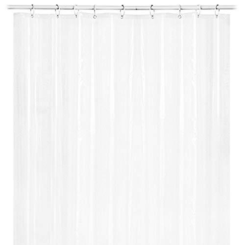 FeiliandaJJ Duschvorhang Transparent 180x180cm Badevorhänge Badewanne Vorhang mit 12 Duschvorhangringen Anti-Schimmel Anti-Bakteriell Wasserdichtes Design Shower Curtain (Transparent) (Schwarz Stoff Dusche Vorhang Liner)