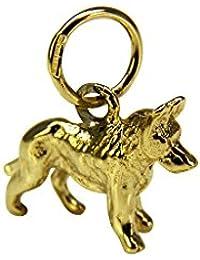 Pendant /& Luxury Pouch HALLMARK 9ct Yellow SOLID Gold German Shepherd Dog