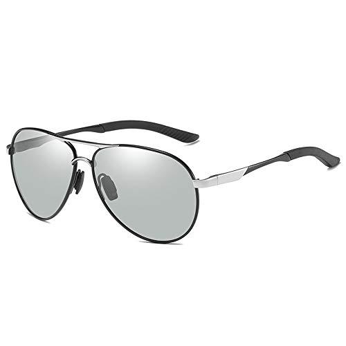 KYS Photochrome Sonnenbrille Polarized Classic Aviator Sonnenbrille Metallrahmen 100% UV-Schutz Nachtsichtbrille (Color : Silver)