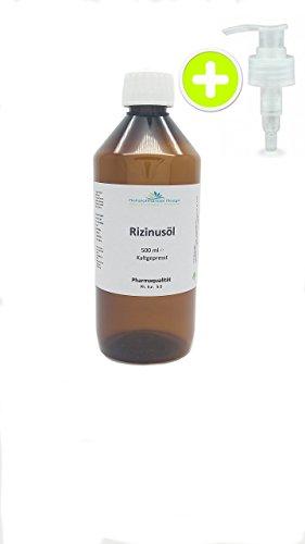 Rizinusöl - (6,44€-500ml)100 % reines kaltgepresstes Öl, Premium Pharmaqualität 500 ml (1,29/100ml)
