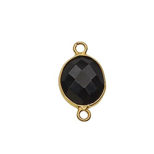 Bindeglied aus schwarzem Glas mit goldener Lünette, 31 x 37 mm Briolette, 1 Stück, golden und schwarz