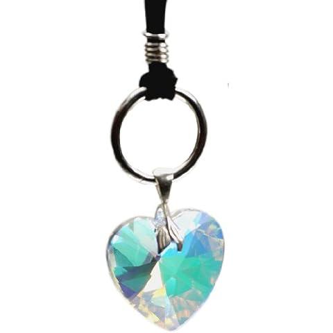 Cinturino in pelle con anello e Swarovski a forma di cuore 28 mm crystal aurora borealis