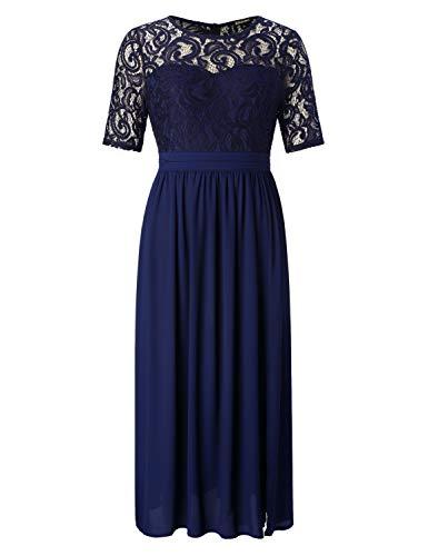 Chicwe Damen Große Größen Guipure Spitze Maxi Kleid mit Ausgestelltem Rock  - Party Cocktail Hochzeit Abendkleider Bodenlänge Limelight Navy 1X 9c8cfcf13b