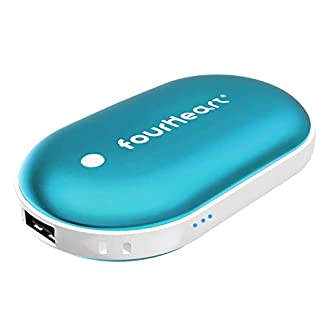 Four Heart Calentador de Mano 5200mAh Powerbank USB/USB-C Electrico Reutilizable Calentamiento Rápido Calentadores de Bolsillo Cargador Móvil Portátil