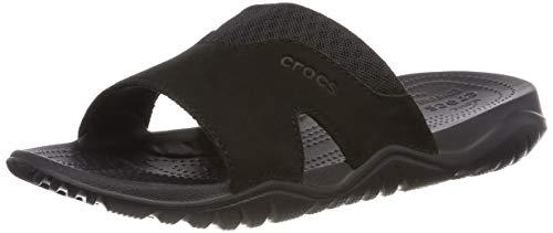 Crocs Herren Swiftwater Leather Slide Men Sandalen, Schwarz (Black 060), 46/47 EU