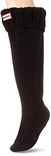 Hunter Socks 6 Stitch Cable Negro UAS3036AAB - Calcetines de forro polar para botas de agua, color negro, M