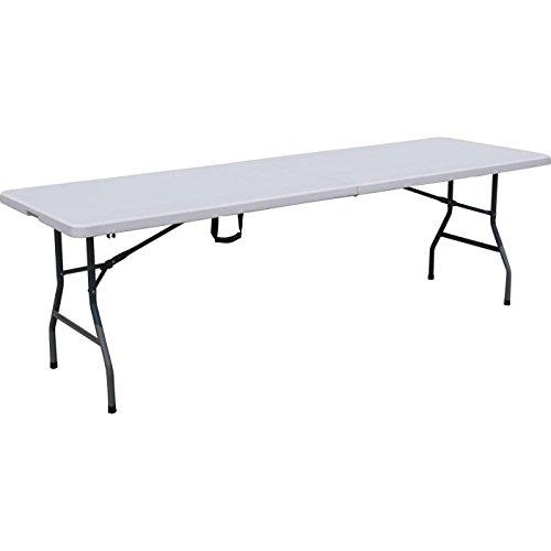 Todeco - Klappbarer Tisch , Garten Klapptisch - Material: HDPE - Maximale Belastbarkeit: 100 kg - 240 x 76 cm, Weiß, In der Mitte klappbar