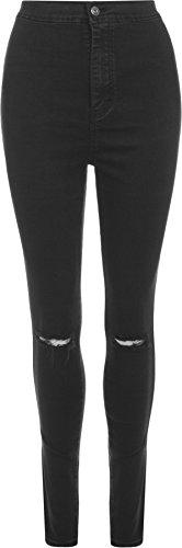WearAll - Zerrissen Ripped dünne hohe Taille Leg Stretch Jeans Hosen - Schwarz - 42
