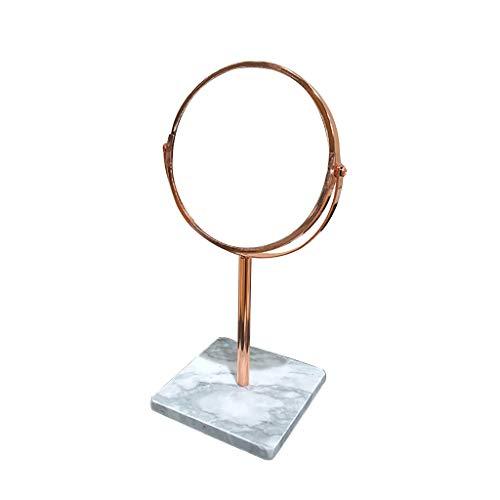 LIHY Schminkspiegel- Tischvergrößerung, runder Schminkspiegel für Badezimmer - 360 Grad drehbar, beidseitig und kabelloses Design (Farbe : Roségold, größe : Square Base)