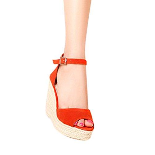 Lvguang Mujer Grueso Sandalias con Cuña Peep Toe Cabeza Pescado Zapatos De Tacón Alto Chancletas Zapatillas Naranja#2 Asia 37(23.5cm)