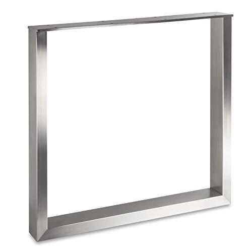 Exklusives Tischgestell KUFE ECHT Edelstahl/Profil 80 x 40 mm/Höhe: 720 mm/Tiefe: 800 mm höhenverstellbares Tischbein Tischunterbau von SO-TECH®