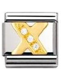 Nomination Comp. Classic BUCHST. Edelstahl, 18K-Gold und Cubic Zirc. (X) 030301