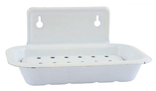 Ib Laursen - Seifenschale mit Wandbefestigung aus Emaille in Antik - Weiß - Shabby Chic - Vintage