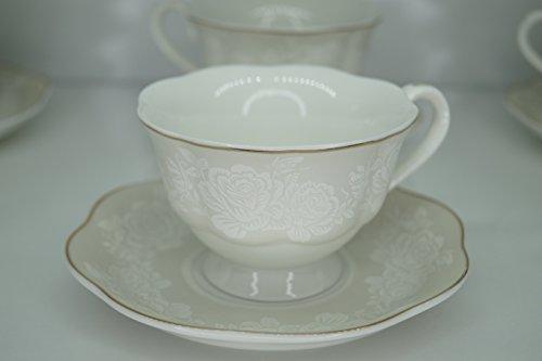 12tlg. Kaffeeservice Kaffee Cappuccino Service Tassen Untertasse Edel Nostalgie Rosen Dekor (EHI002)
