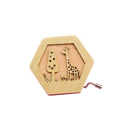 (Spieluhr aus Holz, Cartoon-Giraffe, geschnitzt, Spieluhr, Geschenk für Kinder, Mini-Handkurbel)