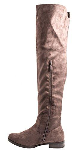 Elara Damen Stiefel | Bequeme Langschaft Overknees | Blockabsatz Wildlederoptik Grau