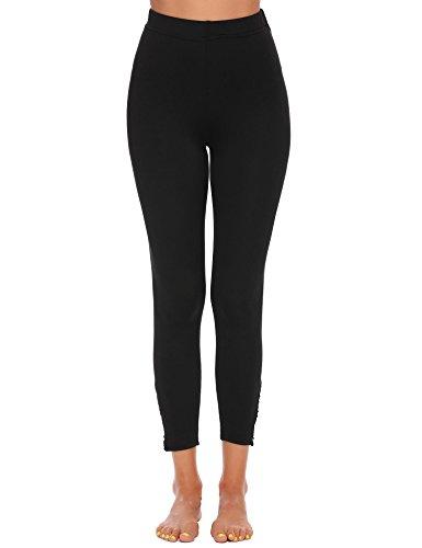 Chigant Damen Netz Fitness Hosen Gym Training Pants Yoga Sport Leggings Dehnbar Jogginghose Yogahose mit Breitem Bund Schwarz